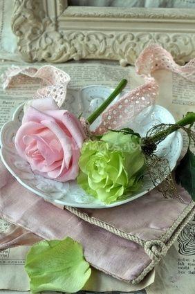 Décoration vert et rose tendre