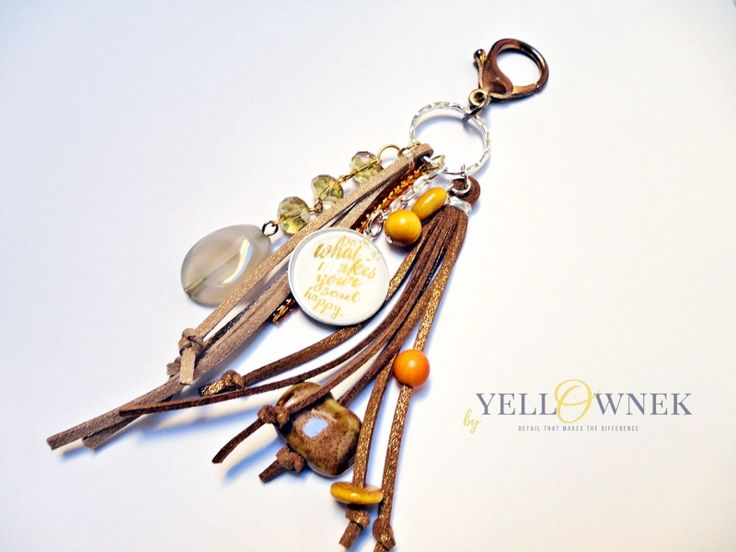 JUST NATURAL Handmade bag charm/keyring. Mix of leather, glass cabochon, chains glass/ceramic/wood/plastic beads and satin ribbon.
