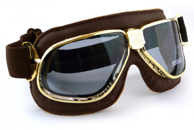 Nannini Cruiser Brown Leather Brass Motorcycle Goggles