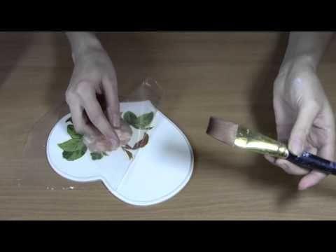 Декупаж: Как приклеить салфетку без складок.Приклеиваем салфетку методом...