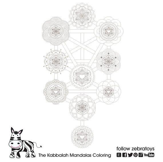 The Kabbalah Tree Of Life Sacred Geometry Mandalas Coloring Page Jewish Kabbalist