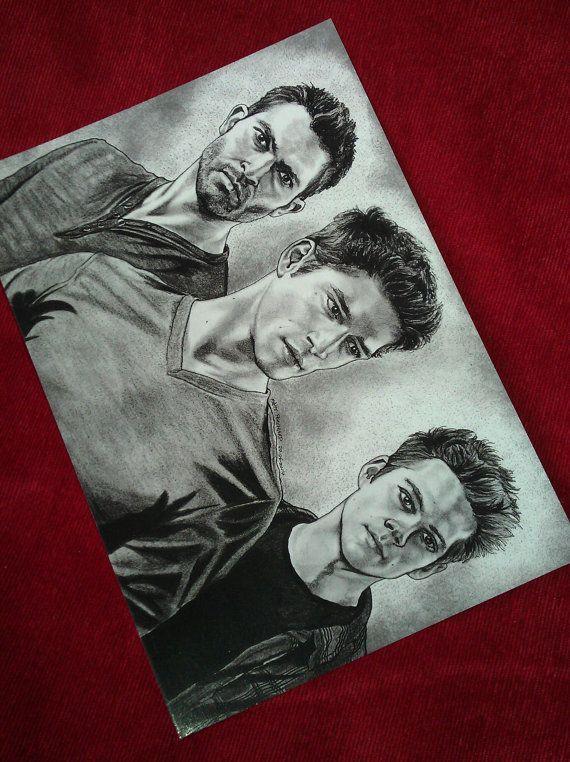 Teen Wolf A5 size large postcard print. Scott McCall. Derek Hale. Stiles Stilinski. Isaac Lahey. Kol Mikaelson. Daniel Sharman.