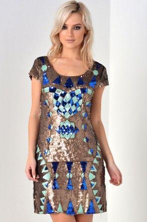 Grace Full Sequin Dress in Gold