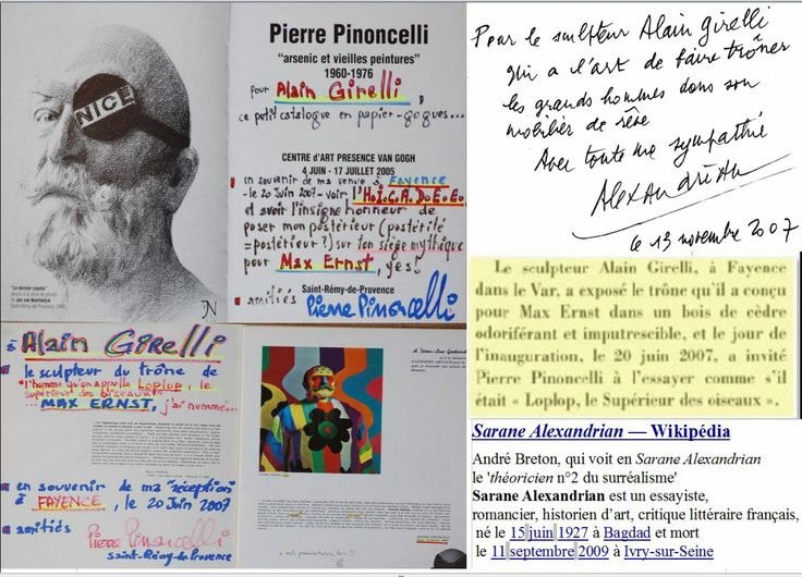 2007 #PierrePinoncelli #duchamp http://www.youtube.com/watch?v=JUYsWad-fXE . Performance sur Trône de Lolop créé en hommage a #MaxERNST ( ses Écritures ) Performance dans l'école de Callian http://www.youtube.com/watch?v=K7QhJsTOvGI . année 2013 à #SEILLANS performance http://www.dailymotion.com/video/x10qclv_hommage-a-max-ernst-alain-girelli_creation