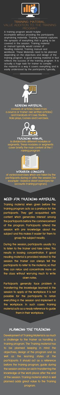 A training program would truly be incomplete without providing the participants any training materials. Training material captures the synopsis of everything that is going to be covered in the session