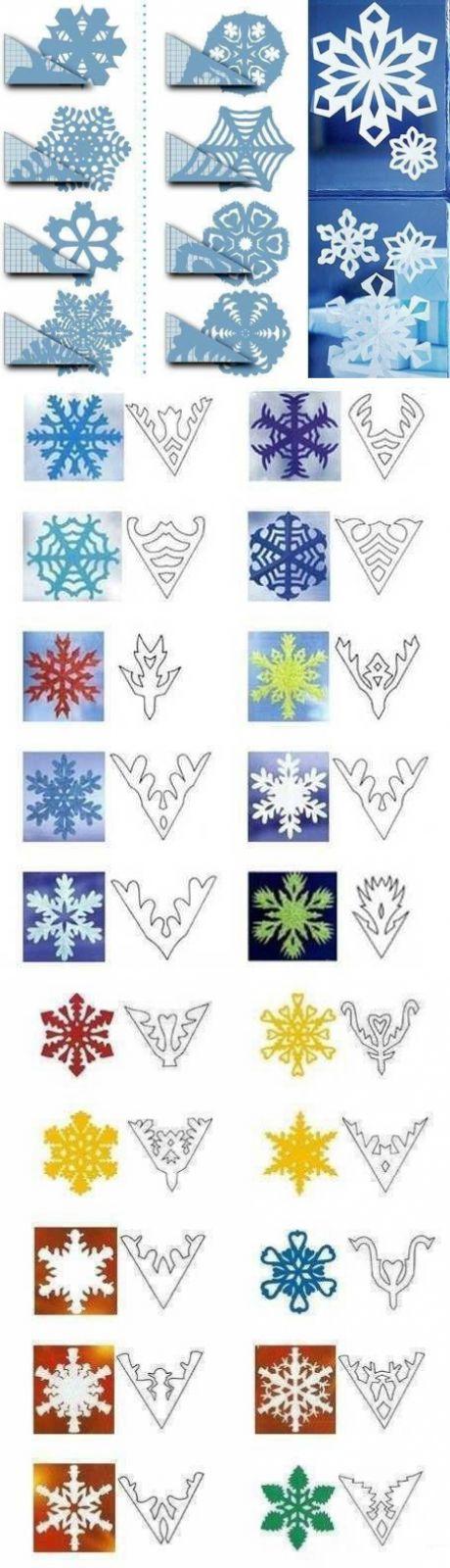 Снежинки из бумаги шаблоны для вырезания - 50 штук