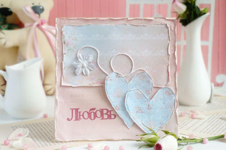 Открытка валентинка ручной в стиле шебби шик с двумя сердцами