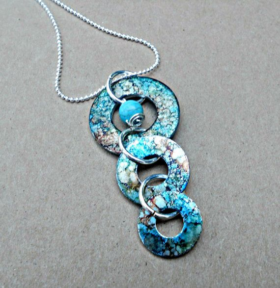 Unique oneofakind handpainted washer pendant by JewelsMadeByJewels, $15.00