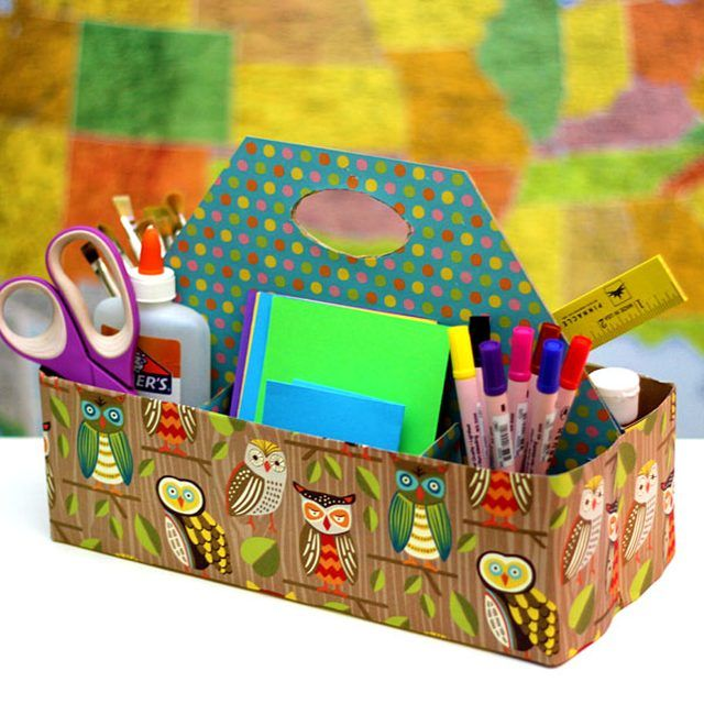 Kids can always use help when it comes to organizing their rooms. This double-sided caddy with six compartments is perfect for holding art materials, stationery and school supplies. And best of all, it's made out of two upcycled cereal boxes. So not only is it good for cleaning up a bedroom or playroom, it's good for cleaning up the planet, too!