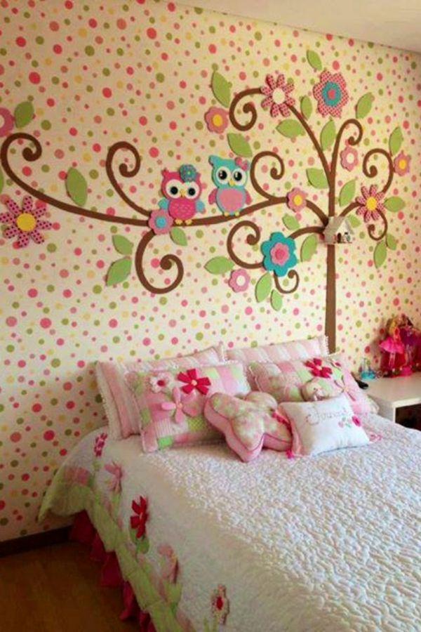 125 großartige Ideen zur Kinderzimmergestaltung - mädchenzimmer gestaltungsideen wanddeko bett