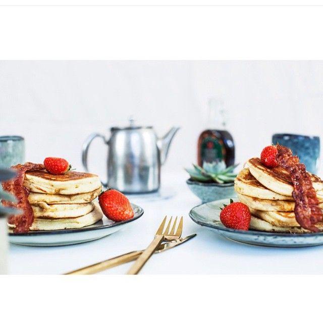 Lekker: pancakes! Heel mooi op dit Nordic Sea servies van #Broste #Copenhagen