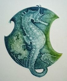 Seahorse by Louise Scott (etching)