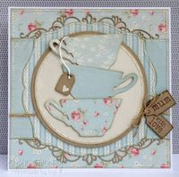 Handmade card with stack of teacups (Stampin' Up dies)