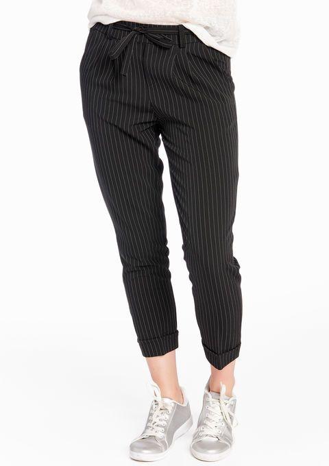 Gestreepte broek met zakken - BLACK - 06002912_1119