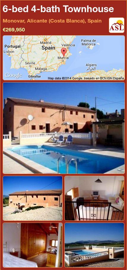 6-bed 4-bath Townhouse in Monovar, Alicante (Costa Blanca), Spain ►€269,950 #PropertyForSaleInSpain