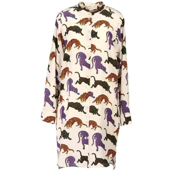 Stella Mccartney Short Dress (710 CHF) ❤ liked on Polyvore featuring dresses, beige, long-sleeve mini dress, pink shirt dress, beige long sleeve dress, long sleeve shirt dress and beige short dress