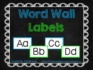 Classroom Freebies Too: Blue and Green Word Wall Labels