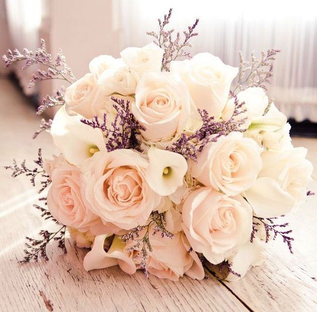 28 Glamorously Gorgeous Bridal Bouquets. We love the blush roses and hint of purple! #wedding #weddings #bouquets