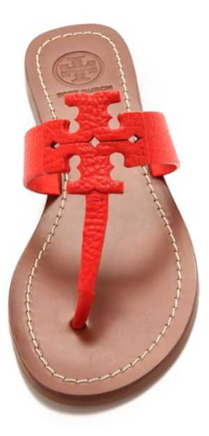 red leather Tory Burch flip-flops