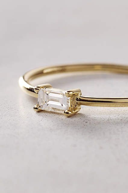 Baguette Diamond Ring in 14k Yellow Gold - anthropologie.com