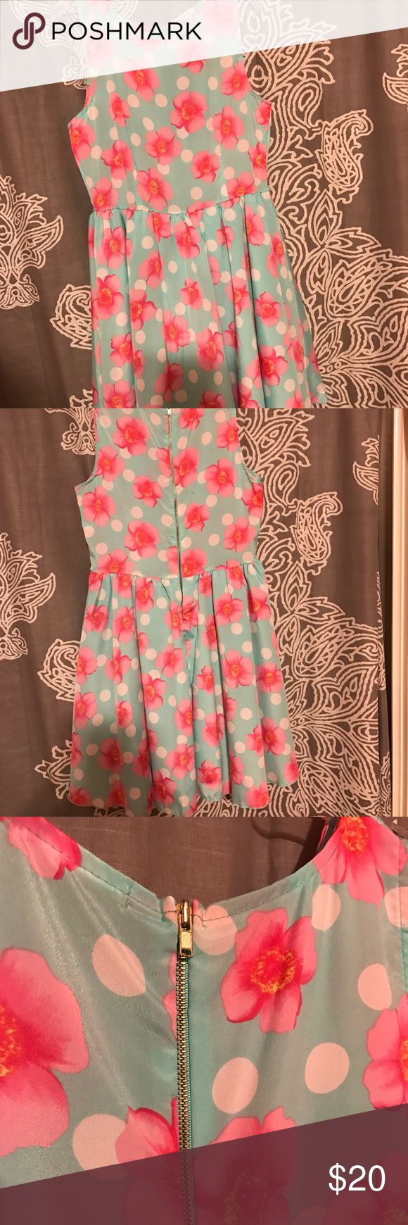 🌹Tea n Rose - Light blue and Pink floral dress Light blue background with pink flowers and white polka dots; zipper in back; never worn ; great condition Dresses