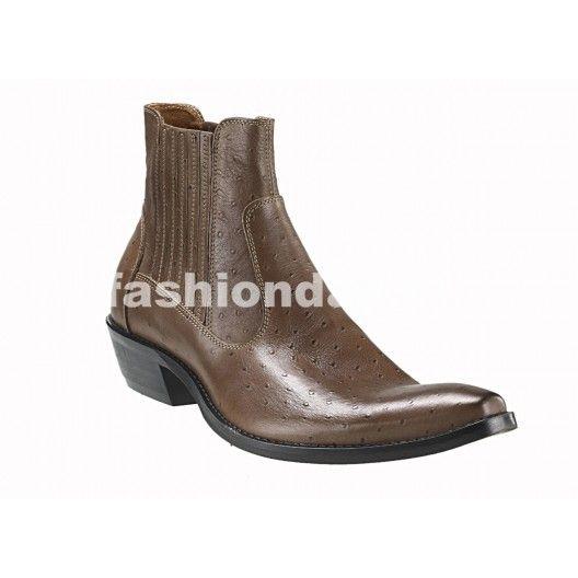 Pánske kožené kovbojky hnedé - fashionday.eu