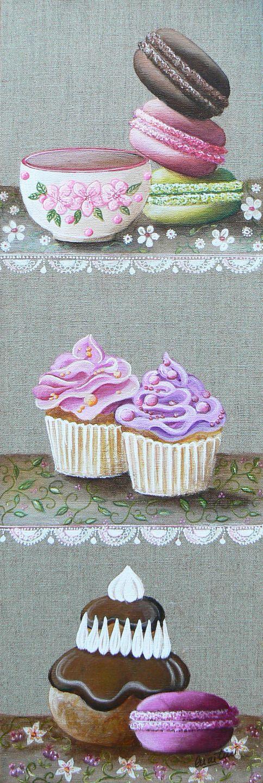 Tableau gourmandises avec des macarons, une religieuse, 2 cupcakes et un petit bol : Peintures par catherine-martini