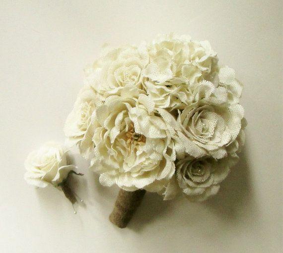 Burlap Rose Wedding Bouquet Ivory Burlap Flower by shannonkristina