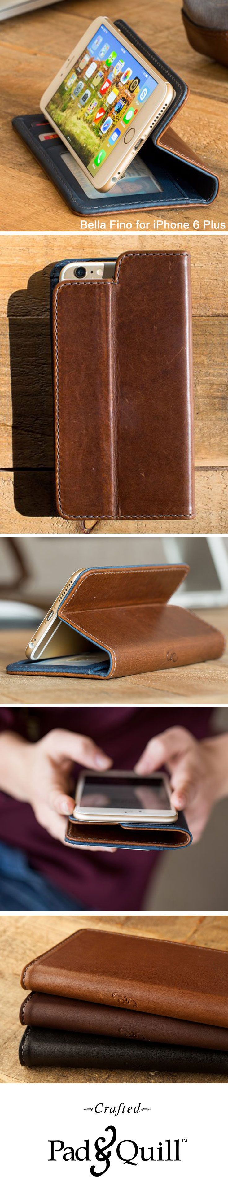 The Bella Vida is a self-propping, luxury leather wallet case for iPhone 6 Plus, tucked with french hemmed seams, constructed from the best American full grain leather, and designed with pockets to accommodate your every day essentials. www.PadandQuill.com