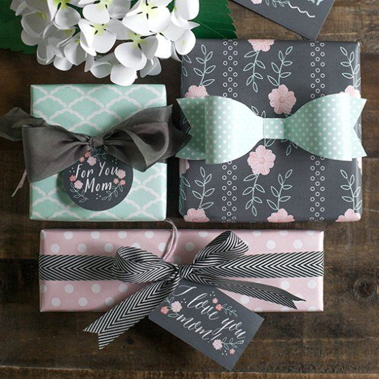 Pretty mint and blush gift tags and gift wrap to add a personal touch to your Mother's Day packages.