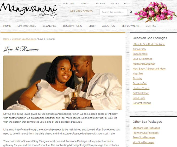 Love and Romance Package; Web page to promote Special Event Celebration package for Mangwanani African Day Spa (South Africa) Need similar (or other copywriting/web content) work done? Contact me - darrell@wordtiffie.co.za #wordtiffie