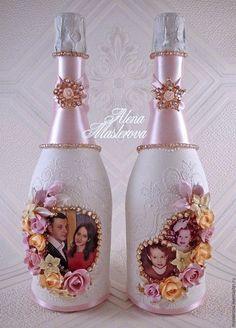 Свадебные аксессуары ручной работы. Ярмарка Мастеров - ручная работа. Купить Декор свадебных бутылок. Handmade. Бледно-розовый