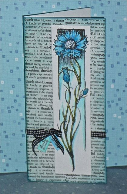 """handmade card: Thank You by swanlady21 * Janet ...  tall and narrow format (#10 envelope) ... Hero Arts background stamp for """"Thank You"""" definition ... tall and slender bachelor's button flower on a column panel .,.. sweet card ..."""