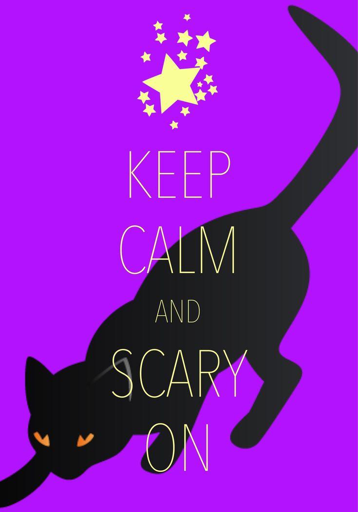 keep calm and scary on / created with Keep Calm and Carry On for iOS #keepcalm #Halloween #blackcat