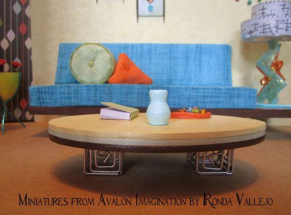 Good Miniature Dollhouse th Scale Mid Century Modern Living Room Complete set u