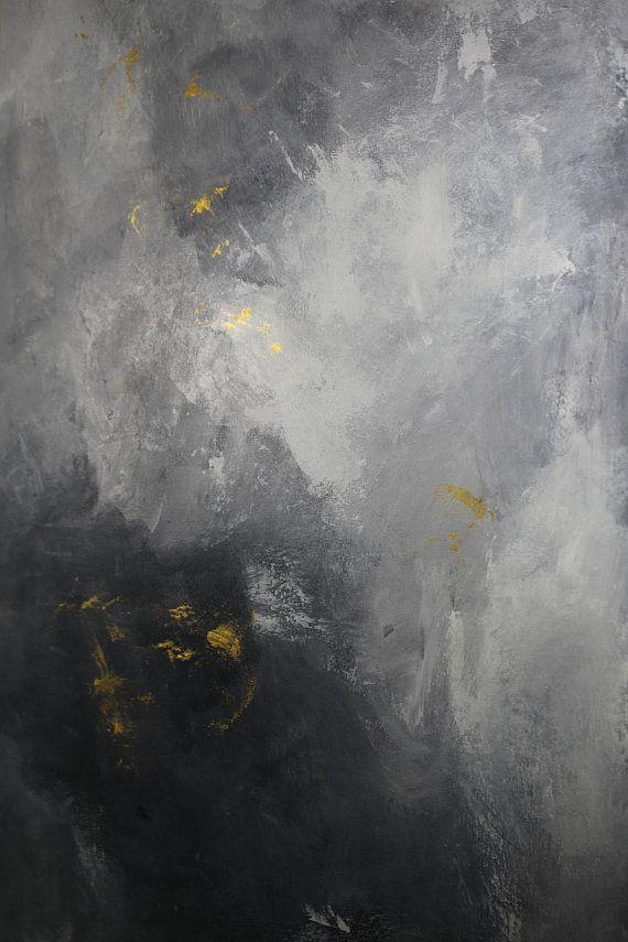 Framed Modern Gray Metallic Gold Abstract Black Floater Frame