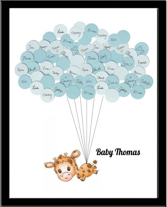 Giraffe Theme Guest Book Baby Shower Print by SayAnythingDesign