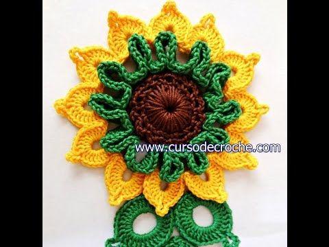 Aprender Croche - Dicas e vídeo-aulas em crochê grátis : Flores em croche girassol rei enriquecido