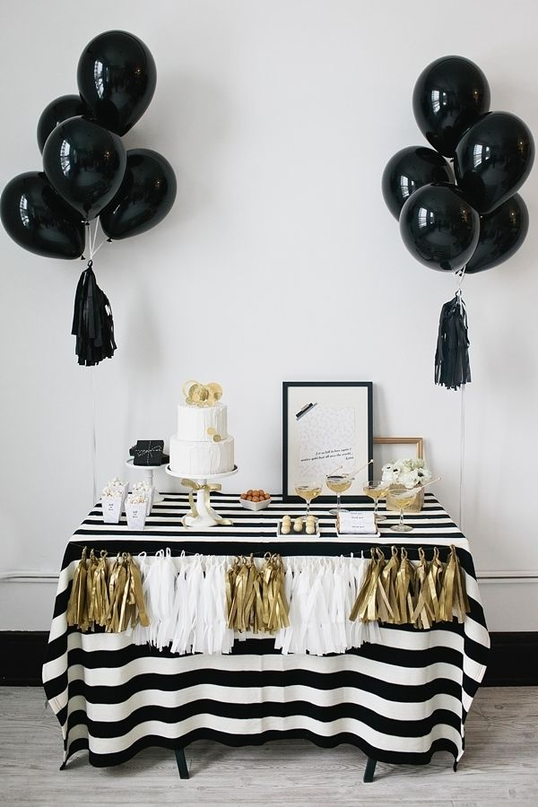 black, white, and gold dessert table