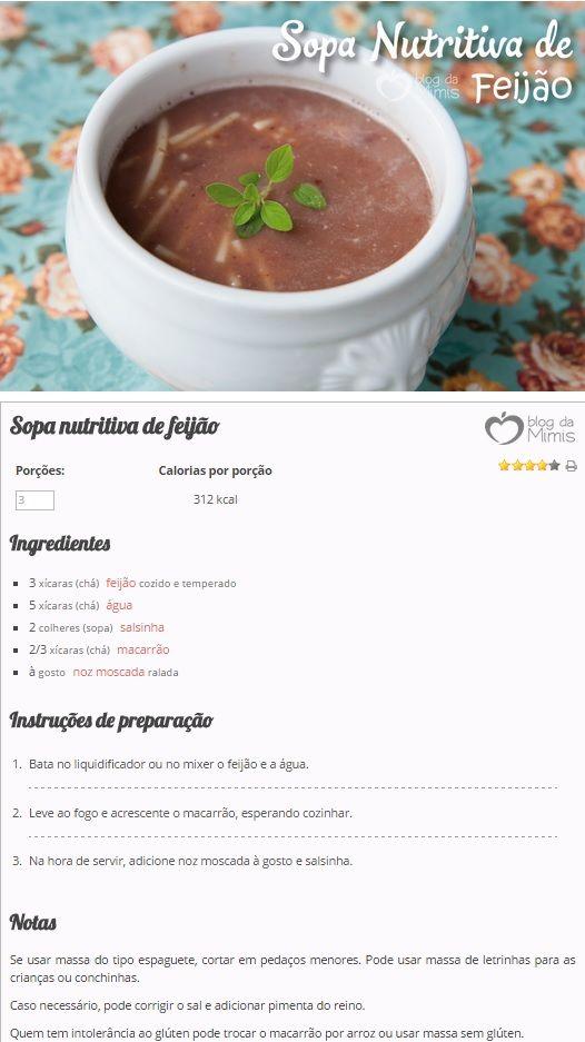 Sopa de feijão - Blog da Mimis - É uma receita muito simples e todo mundo pode fazer.
