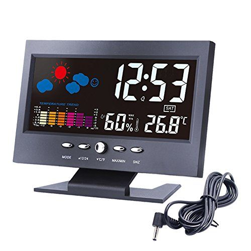 """Alarm Clock, Lomanda Digital Alarm Clock 5.5"""" Colorful Display Screen with Weather Forecast/Date/Indoor Humidity Temperature/Snooze/Charging Cable(Black) - Lomanda morning wake up alarm clock expert. Provide a friendly, clean and simple design alarm clock with ambience temperature Humidity live weather station which definitely meet all your needs. Features 1.Calendar Range: range 2000-2099 2.Temperature Range: -10 ~ +61℃ ( 14.2 ~ +140℉..."""