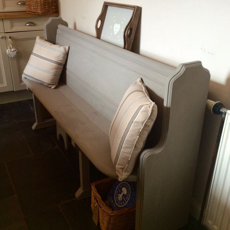 Hand painted old church pew.