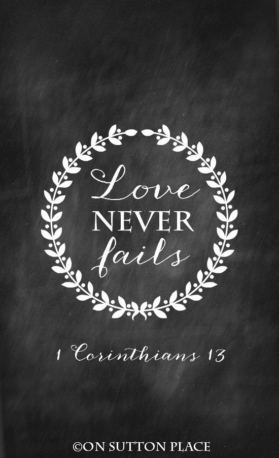 1 Corinthians Free Printable | Love Never Fails | from On Sutton Place