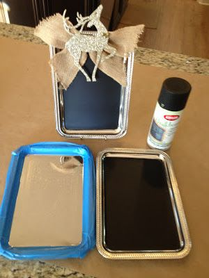 Mindy Laven Interiors: Silver Tray Chalk Boards: Dollar Store