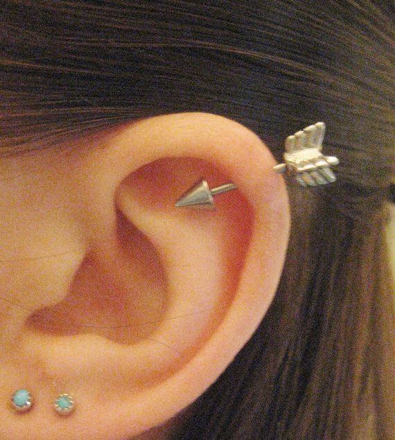16 Gauge Arrow Helix Piercing Earring Stud Post Arrowhead Head Industrial Cartilage Ear Jewelry..i could put this in my extra cartilage hole