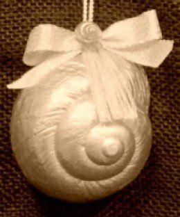 Seashell Christmas ornament ideas and tutorials for a coastal beach Christmas theme.
