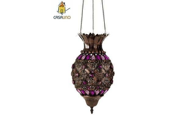 Casa Uno BeaDed Hanging Lamp Metal Lantern Ceiling Light Retro Bronze Decor NEW