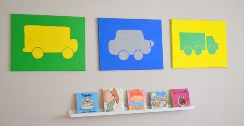 Canvas car art in primary colors