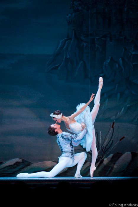 Swan Lake ballet from Pyotr Ilyich Tchaikovsky - Performed by the Russian National Ballet. Prince and White Swan kissing