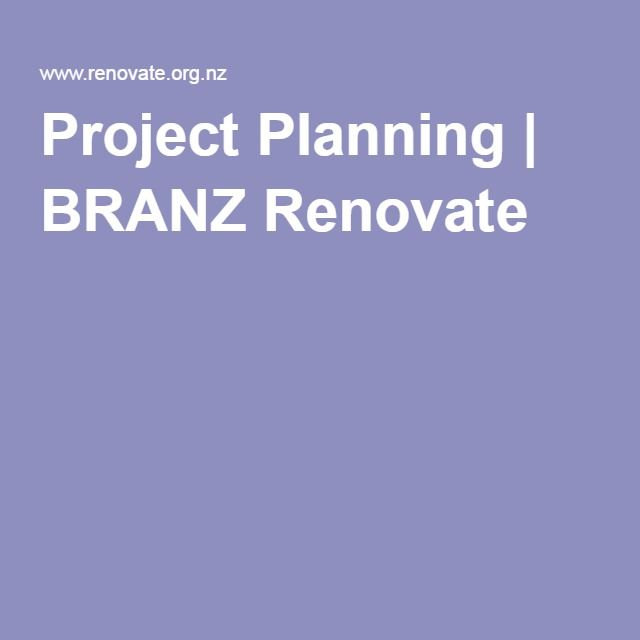 Project Planning | BRANZ Renovate